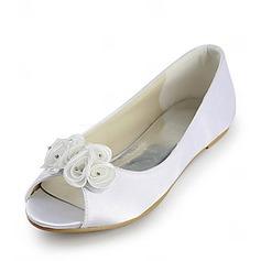 Vrouwen Satijn Flat Heel Peep Toe Sandalen met Satijnen Bloem