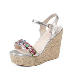 Femmes Vrai cuir Cuir en microfibre Talon compensé Sandales Compensée Beach Wedding Shoes avec Boucle Strass