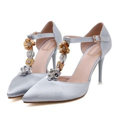 Women's Suede Stiletto Heel Pumps With Buckle Sequin