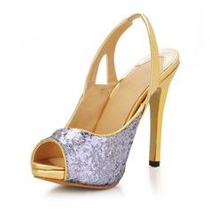 Women's Sparkling Glitter Stiletto Heel Peep Toe Platform Sandals Slingbacks With Sequin