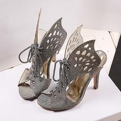 Femmes Pailletes scintillantes Talon stiletto Sandales À bout ouvert avec Pailletes scintillantes Ouvertes chaussures