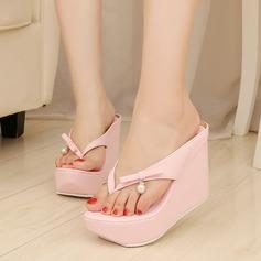 Women's Leatherette Wedge Heel Sandals Pumps Platform Slippers shoes
