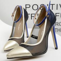 Women's Leatherette Stiletto Heel Pumps Closed Toe With Buckle Split Joint shoes