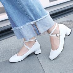 Women's Leatherette Flat Heel Flats Closed Toe With Rhinestone Buckle shoes