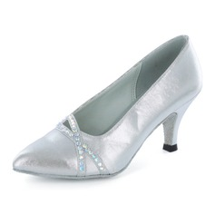 Women's Satin Heels Pumps Modern Ballroom With Rhinestone Dance Shoes