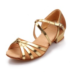 Women's Satin Sandals Latin With Buckle Hollow-out Dance Shoes