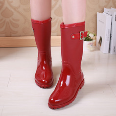 Women's PVC Low Heel Boots Knee High Boots Rain Boots With Rivet Buckle shoes