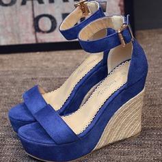 Femmes Suède Talon compensé Sandales Plateforme Compensée À bout ouvert avec Lanière tressé chaussures
