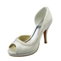 Women's Satin Stiletto Heel Peep Toe Sandals With Beading