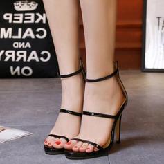 Women's Leatherette Stiletto Heel Sandals Peep Toe With Zipper shoes