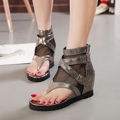 Femmes Tissu Talon compensé Sandales Compensée À bout ouvert avec Boucle chaussures