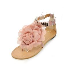 Kunstleder Flascher Absatz Sandalen Flache Schuhe Peep Toe mit Perlen verziert Schnalle Blume Schuhe