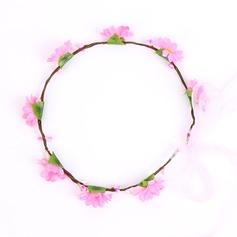 Charmia Keinotekoinen silkki Kukka tyttöjen päähine/Kukkia ja höyhenet
