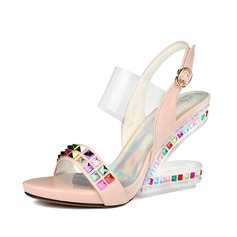 Women's Sparkling Glitter Wedge Heel Sandals Slingbacks shoes