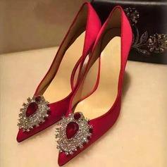 Kvinner Silke Stiletto Hæl Pumps Lukket Tå med Rhinestone sko