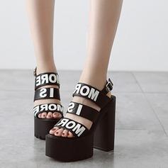 Femmes Similicuir Talon bottier Sandales Plateforme À bout ouvert chaussures