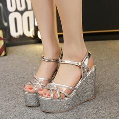 Women's Leatherette Wedge Heel Peep Toe Sandals