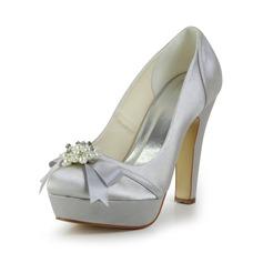 Satén Široký podpatek Uzavřená špička Na platformě Lodičky Svatební obuv S S mašlí Imitace perel