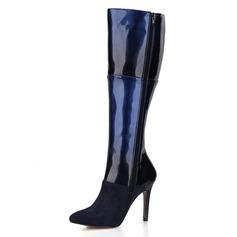 Donna Camoscio Pelle verniciata Tacco a spillo Stiletto Punta chiusa Stivali Stivali al ginocchio scarpe