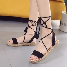 Women's Suede Flat Heel Sandals Peep Toe Slingbacks With Lace-up shoes