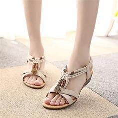 Women's Suede Wedge Heel Sandals Peep Toe Slingbacks With Beading Rivet Elastic Band shoes