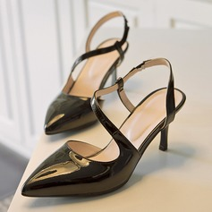 Women's Patent Leather Stiletto Heel Sandals With Hollow-out shoes