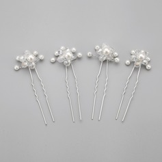 Gorgeous/Handmade Alloy/Imitation Pearls Hairpins (Set of 4)