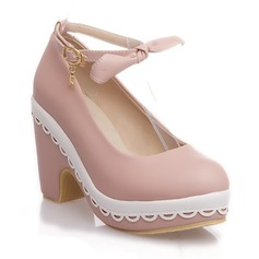 Femmes Talon bottier Escarpins Plateforme Bout fermé avec Bowknot Boucle Semelle chaussures