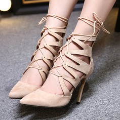 Women's Suede Stiletto Heel Closed Toe Boots Ankle Boots With Lace-up Hollow-out shoes