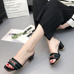 Frauen PU Niederiger Absatz Sandalen Pantoffel mit Schnalle Geflochtenes Band Zweiteiliger Stoff Schuhe