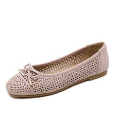 Femmes Similicuir Talon plat Chaussures plates avec Bowknot Ouvertes chaussures