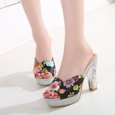 Women's Leatherette Chunky Heel Sandals Pumps Platform Slippers With Animal Print Jewelry Heel shoes
