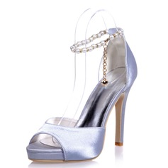 Women's Satin Stiletto Heel Peep Toe Platform Sandals With Imitation Pearl