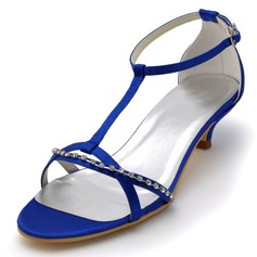 Women's Satin Cone Heel Sandals With Buckle Rhinestone