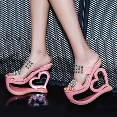 Women's Wedge Heel Sandals Platform Wedges Peep Toe Slippers With Rivet shoes