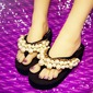Women's Cloth Flat Heel Platform Flip-Flops Slippers With Rhinestone Imitation Pearl Flower shoes (087122267)