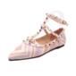 Kadın Suni deri Düz Topuk Daireler Kapalı Toe Ile Perçin ayakkabı (086094417)