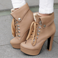 Women's Leatherette Chunky Heel Pumps With Lace-up Button shoes (088103142)